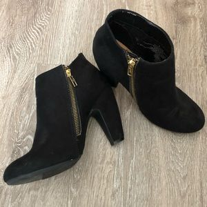 Mossimo Black Suede Heeled Ankle Booties